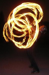 fire dancing girl